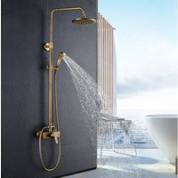 Brass Bathroom Shower System, Round Shower Mixer, with 8 Shower Head and 2 Hand Held Shower, Rod Extendable 37-53