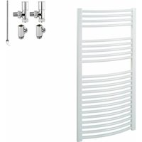 BRAY Curved Heated Towel Rail / Warmer / Radiator, White - Dual Fuel, Electric, 50cm x 120cm - SOL*AIRE HEATING PRODUCTS