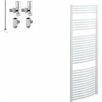Sol*aire Heating Products - BRAY Curved Heated Towel Rail / Warmer / Radiator, White - Dual Fuel, Electric, 50cm x 180cm
