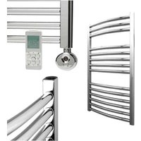 BRAY Curved Towel Warmer / Heated Towel Rail, Chrome - Electric, Thermostat + Timer, 60cm x 80cm
