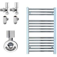 BRAY Straight Heated Towel Rail / Warmer, Chrome - Dual Fuel, Thermostat + Timer, 40cm x 80cm - SOL*AIRE HEATING PRODUCTS