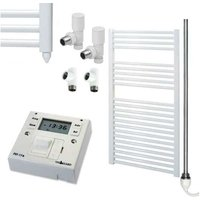 BRAY Straight Heated Towel Rail / Warmer, White - Dual Fuel + Fused Spur Timer, 60cm x 120cm - SOL*AIRE HEATING PRODUCTS