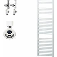 BRAY Straight Heated Towel Rail / Warmer, White - Dual Fuel, Thermostat + Timer, 50cm x 180cm - SOL*AIRE HEATING PRODUCTS