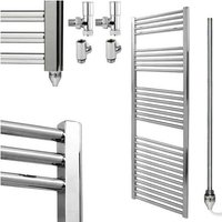 BRAY Straight or Flat Heated Towel Rail / Warmer / Radiator, Chrome - Dual Fuel, 50cm x 150cm