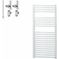 BRAY Straight or Flat Heated Towel Rail / Warmer, White - Dual Fuel, Electric, 60cm x 120cm - SOL*AIRE HEATING PRODUCTS