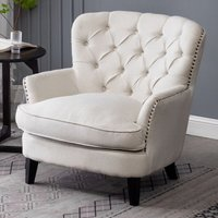 Bread Buttoned Armchair Single Sofa, Beige - LIVINGANDHOME