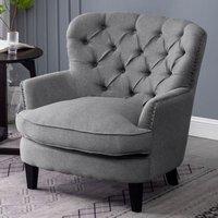 Bread Buttoned Armchair Single Sofa, Grey - LIVINGANDHOME