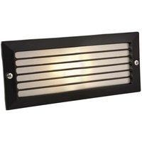 Brick - 1 Light Outdoor Brick Light Outdoor - With Louvre Black, Opal Glass IP54, E27 - Firstlight