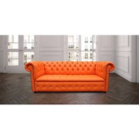 Designer Sofas 4 U - Bright Orange Leather Chesterfield Crystallized Diamond sofa | DesignerSofas4U