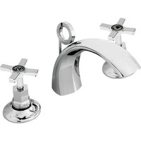 Art Deco 3 Hole Basin Mixer Tap and Ceramic Disc Valves with Pop Up Waste - Chrome - Bristan