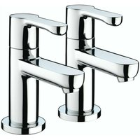 Nero Modern Basin Sink Taps Hot and Cold Chrome Pair Round Single Lever - Bristan