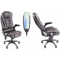 Neo Brown Faux Leather Executive Recliner Swivel Office Chair - With Massage Function