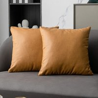Brown Faux Leather Pillow Covers 18x18 Inch Set of 2 Modern Accent Decorative Square Throw Pillow Covers Cushion Cases for Bedroom Living Room Couch