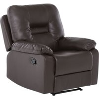 Modern Faux Leather Recliner Chair Manual Reclining Padded Armchair Brown Bergen