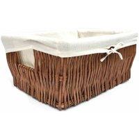Wider Large Big Deep Lined Kitchen Wicker Storage Basket Xmas Hamper Basket [Oak/Brown,Medium 41x28x18cm]