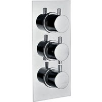 Signature Circa Thermostatic Round 2 Outlet Concealed Shower Valve Triple Handle - Chrome