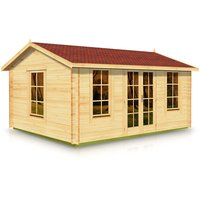 Budget Apex Style Roof Log Cabin 4.0m x 5.0m x 44mm with Roof Area 22.4sq m