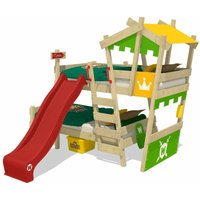 WICKEY Kid?s bed, loft bed Crazy Castle with red slide single bed 90 x 200 cm, children?s bed