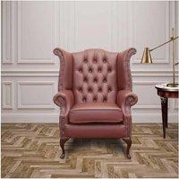 Burgandy Chesterfield Queen Anne Wing chair | DesignerSofas4U