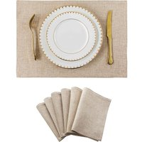 Bearsu - Burlap Linen Placemats Set of 6 Heat Resistant Dining Table Place Mats Washable Kitchen Table Mats, 13x19 inch, Light Linen