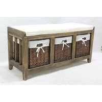 Burnt Brown Hallway Bench Seat 3 Basket Pull-Out Storage White Cushioned Top