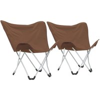 Asupermall - Butterfly Camping Chairs 2 pcs Foldable Brown