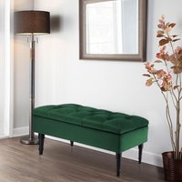 Buttoned Ottoman Storage Chest Toy Velvet Chair Bench Blanket Box Wood Legs , Dark Green - LIVINGANDHOME