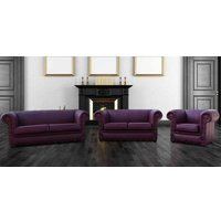 Designer Sofas 4 U - Buy Aubergine Sofa 3+2+1 | Leather Chesterfield Sofa|Made in UK|DesignerSofas4U
