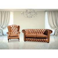 Designer Sofas 4 U - Buy Chesterfield 2 Seater and Mallory Wing chair | Old English Tan Leather|DesignerSofas4U