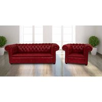 Designer Sofas 4 U - Buy red leather 3+1 Chesterfields|UK Manufacturer|DesignerSofas4U