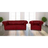 Buy red leather 3+1 Chesterfields|UK Manufacturer|DesignerSofas4U - DESIGNER SOFAS 4 U