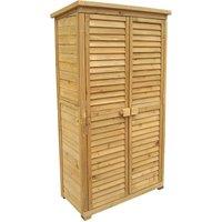 Armoire de jardin avec des portes en lamelles 870x465x1600 mm en bois d'épicéa avec toit bitumé