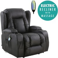 More4homes - CAESAR BLACK ELECTRIC LEATHER AUTO RECLINER MASSAGE HEATED GAMING WING CHAIR
