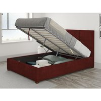 Caine Ottoman Upholstered Bed, Kimiyo Linen, Bordeaux - Ottoman Bed Size Single (to fit mattress size 90x190)
