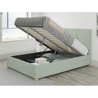 Caine Ottoman Upholstered Bed, Pure Pastel Cotton, Eau De Nil - Ottoman Bed Size Single (90x190)