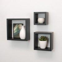 Cali Floating Cube Shelves Set of 3 Wall Hanging - Black - SPOT ON DEALZ
