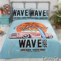 Rapport - California Single Duvet Cover Bedding Set - Retro Surf Board Vintage Car
