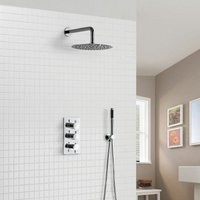 Calla Concealed Slim Overhead Shower Head 3 Dial Thermostatic Valve And Pencil Handset