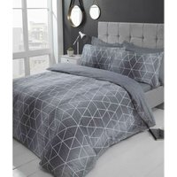 Calvin Grey Single Duvet Cover Set, Modern Reversible Bedding Bed Quilt Set
