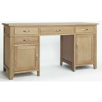 Camberley Oak 2 Door 4 Drawer Double Pedestal Computer Desk in Light Oak Finish | Wooden Dressing Table with Storage