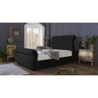 Furniturebox Uk - Cambridge Black Crushed Velvet Double Bed Frame