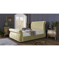Furniturebox Uk - Cambridge Cream Crushed Velvet Double Bed Frame