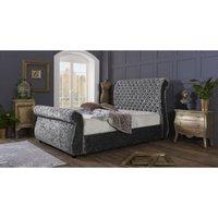 Furniturebox Uk - Cambridge Grey Crushed Velvet Single Bed Frame