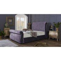 Furniturebox Uk - Cambridge Purple Crushed Velvet Double Bed Frame