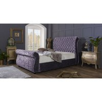 Furniturebox Uk - Cambridge Purple Crushed Velvet Single Bed Frame