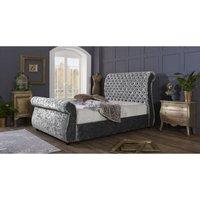 Furniturebox Uk - Cambridge Silver Crushed Velvet Double Bed Frame
