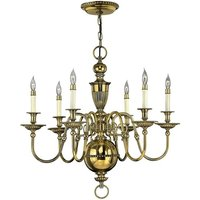 Elstead Cambridge - 6 Light Chandelier Polished Brass Finish, E14