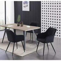 Pn Home - Camden and Rocco LUX Dining Set | Modern Dining Table | Velvet Finish Chairs (WALNUT TABLE and BLACK)