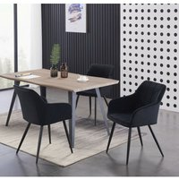 Pn Home - Camden and Rocco LUX Dining Set   Modern Dining Table   Velvet Finish Chairs (WALNUT TABLE and BLACK)