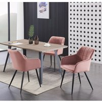 Camden and Rocco LUX Dining Set | Modern Dining Table | Velvet Finish Chairs (WALNUT TABLE and PINK)